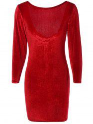 Long Sleeve Suede Backless Zippered Bodycon Dress - WINE RED M