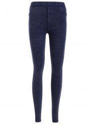 Elastic Waist Pocket Design Leggings - PURPLISH BLUE