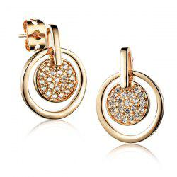 Pair of Cut Out Round Rhinestone Earrings -