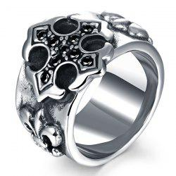 Etched Embossed Rhinestone Ring - SILVER