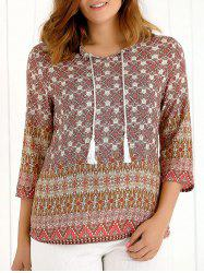 Tassel Tribal Print 3/4 Sleeves Blouse