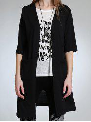 Asymmetric Button Design Long Cardigan - BLACK 5XL
