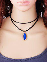Double Layered Rope Faux Gem Pendant Necklace -
