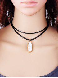 Double Layered Rope Faux Gem Pendant Necklace - WHITE