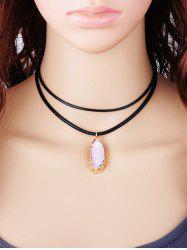 Double Layered Rope Faux Gem Pendant Necklace