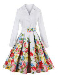 Floral Long Sleeve Pleated A Line Dress -