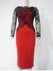 Lace See-Through Long Sleeve Pencil Dress