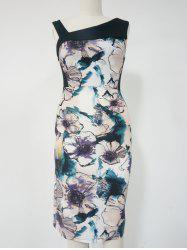 Floral Print Sleeveless Pencil Dress -