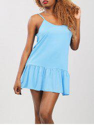 Ruffled Drop Waist Summer Dress - LIGHT BLUE
