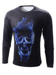 Round Neck 3D Skull Flame Print Long Sleeve T-Shirt