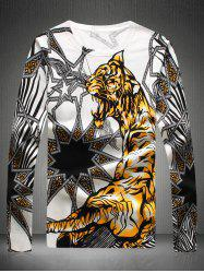 Motif col rond Pull Tiger - Blanc