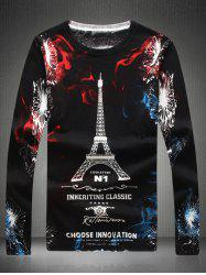 Round Neck Eiffel Tower Print Sweater -