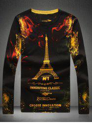Round Neck Eiffel Tower Print Sweater