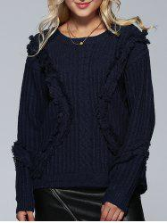 Jewel Neck Ribbed Tassel Sweater - DEEP BLUE