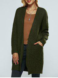 Collarless Pocket Design Knitted Cardigan -