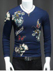 Butterfly and Flower Pattern V-Neck T-Shirt