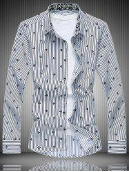 All-Over Striped and Flower Pattern Shirt - WHITE 7XL
