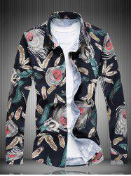 Long Sleeve All-Over Feather Printed Shirt