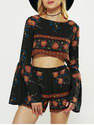 Flare Sleeve Crop Top and Print Shorts - BLACK