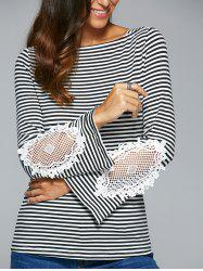 Striped Lace Insert T-Shirt - BLACK XL