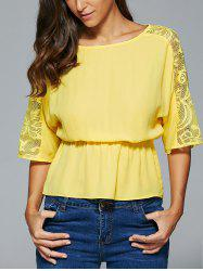 Lace Spliced 3/4 Sleeve Elastic Waist Blouse