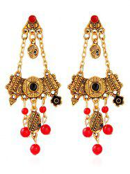 Engraved Geometric Floral Beads Drop Earrings
