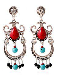 Faux Ruby Turquoise Water Drop Earrings