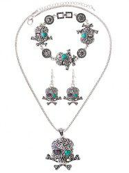 Faux Turquoise Heart Skull Jewelry Set -