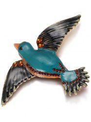 Rhinestone Glaze Fly Bird Shape Brooch - GREEN