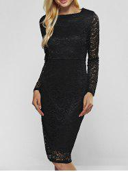 Lace Long Sleeve Sheath Evening Cocktail Dress - BLACK 2XL
