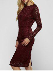Lace Long Sleeve Sheath Evening Cocktail Dress - WINE RED L