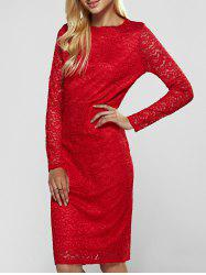 Lace Long Sleeve Sheath Evening Cocktail Dress - RED