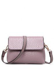 PU Leather Woven Crossbody Bag