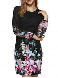 Long Sleeve Printed Floral Bodycon Dress - BLACK M
