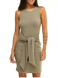 Fashionable Round Collar Sleeveless Knotted Pure Color Skinny Women's Dress -