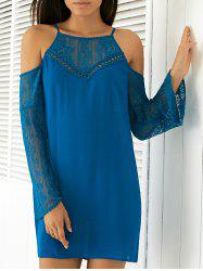 Cold Shoulder Long Sleeve Shift Dress - MEDIUM BLUE
