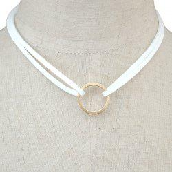 Circle Faux Leather Layered Necklace - WHITE