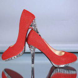 Rhinestones Stiletto Heel Platform Pumps - RED