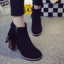 Zipper Suede Fringe Ankle Boots