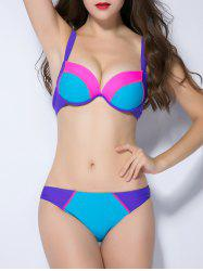 Push Up Contrast Color Splicing Bikini Set