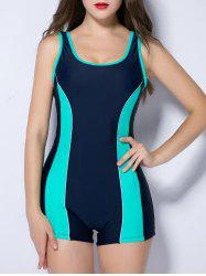 U Neck Contrast Color Spliced Backless Swimwear - MINT GREEN 4XL