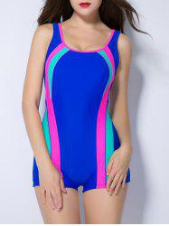 Contrast Color Splicing Backless Swimwear