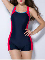 Cut Out Splicing Contrast Color Swimwear - PURPLISH BLUE 4XL