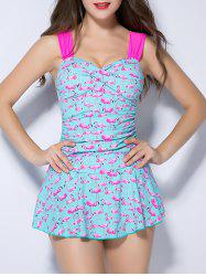 Push Up Flamingo Ruched One Piece Swimsuit