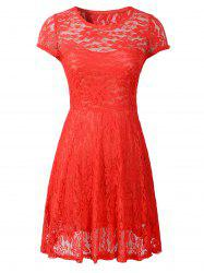 Cut Out Floral Pattern Slimming Dress -