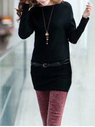 Long Sleeves Knitted Mini Dress - BLACK
