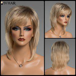 Straight Layered Mixed Color Human Hair Medium Side Bang Capless Siv Hair Wig