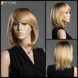 Straight Tail Adduction Siv Hair Capless Medium Ombre Color Human Hair Wig