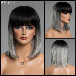 Straight Full Bang Human Hair Medium Two-Tone Ombre Siv Hair Capless Wig