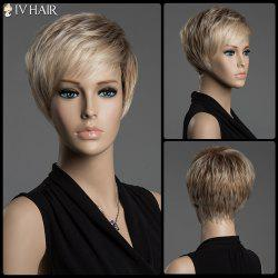 Short Pixie Cut Human Hair Straight Mixed Color Capless Siv Hair Wig